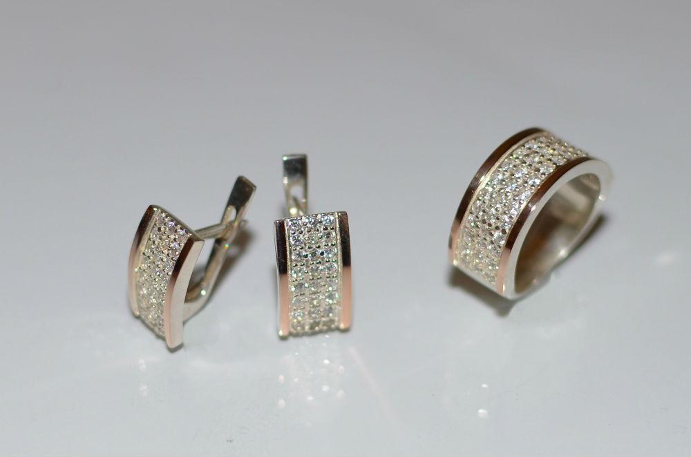 dc3f14aea7ef1d Kalinin Silver - Серебро с золотыми накладками (вставками) Белая ...